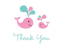 Pink Whale Teal Splash Thank You Cards