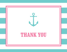 Teal Stripes Anchor Pink Nautical Note
