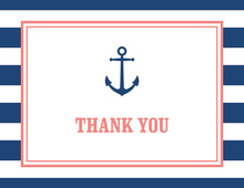 Navy Stripes Anchor Coral Nautical Note