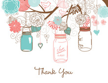 Teal Coral Mason Floral Jars Thank You Cards