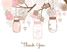 Pink Mason Floral Jars Thank You Cards