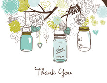 Aqua Lime Mason Floral Jars Thank You Cards