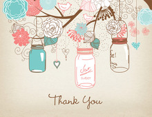 Teal Coral Mason Floral Jars Rustic Thank You Cards