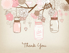 Pink Mason Floral Jars Rustic Thank You Cards