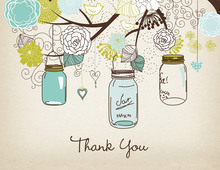 Aqua Lime Mason Floral Jars Rustic Thank You Cards