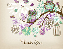 Purple Owls Floral Branch Rustic Thank You Cards