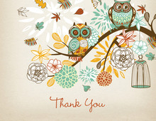Aqua Owls Floral Branch Rustic Thank You Cards