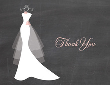 Wedding Dress Pearls Chalkboard Thank You Cards
