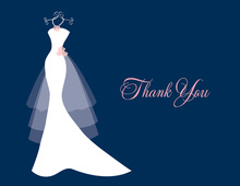 Wedding Dress Pearls Flowers Navy Thank You Cards