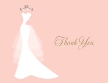 Wedding Dress Pearls Flowers Pink Thank You Cards