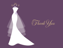 Wedding Dress Pearls Flowers Eggplant Thank You Cards