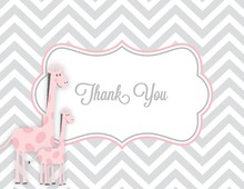 Pink Giraffes Grey Chevron Thank You Cards