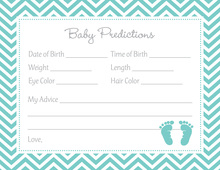 Teal Baby Feet Footprint Baby Prediction Cards