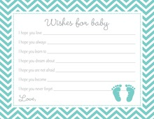 Teal Baby Feet Footprint Baby Wish Cards