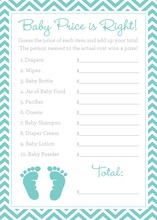 Teal Baby Feet Footprint Baby Shower Price Game