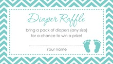 Teal Baby Feet Footprint Raffle Cards