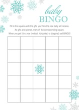 Aqua Snowflakes Baby Shower Bingo Cards