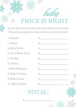 Aqua Snowflakes Baby Shower Price Game