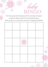 Pink Snowflakes Baby Shower Bingo Cards