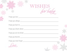 Pink Snowflakes Baby Wish Cards