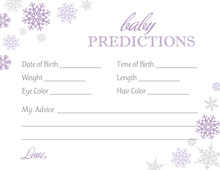 Purple Snowflakes Baby Prediction Cards