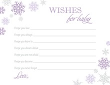 Purple Snowflakes Baby Wish Cards