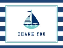 Navy Striped Teal Sailboat Thank You Cards