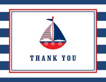 Navy Striped Red Sailboat Thank You Cards