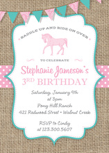 Pink Horse Teal Border Burlap Invitations