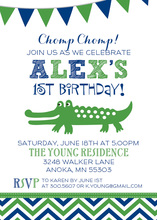 Navy Chevron Green Alligator Invitations