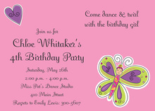 Pink Butterfly Fairy Princess Invitations