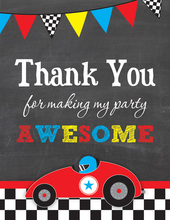 Red Race Car Chalkboard Thank You Notes