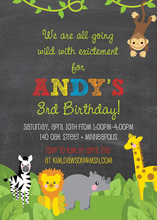 Jungle Animal Safari Chalkboard Boy Birthday Invitations