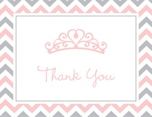 Pink Tiara Chevron Border Thank You Cards