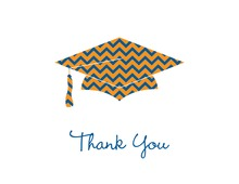 Orange Chevron Graduation Cap Thank You Cards