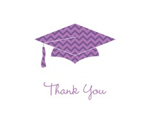 Purple Chevron Graduation Cap Thank You Cards