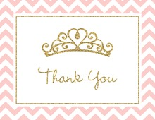 Gold Glitter Graphic Tiara Pink Chevrons Thank You Cards