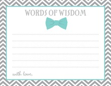 Aqua Bow Tie Baby Shower Advice Cards