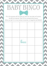 Aqua Bow Tie Baby Shower Bingo Cards