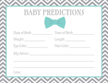 Aqua Bow Tie Baby Prediction Cards