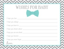 Aqua Bow Tie Baby Wish Cards