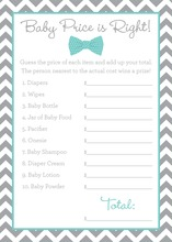 Aqua Bow Tie Baby Shower Price Game