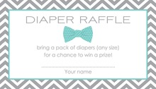 Aqua Bow Tie Baby Shower Raffle Cards