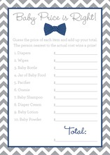Navy Bow Tie Baby Shower Price Game