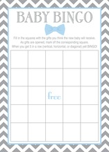 Baby Blue Bow Tie Baby Shower Bingo Game