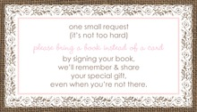 Pink Border Lace Burlap Bring A Book Card