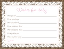 Pink Border Lace Burlap Baby Wish Cards