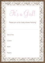Pink Border Lace Burlap Baby Fill-in Invitations