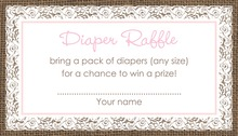 Pink Border Lace Burlap Raffle Cards