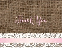 Pink Border Lace Burlap Note